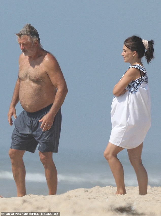 Couple: Alec, 62, and Hilaria Baldwin, 36, looked every inch the happy couple as they enjoyed a day on the beach in the Hamptons on Monday