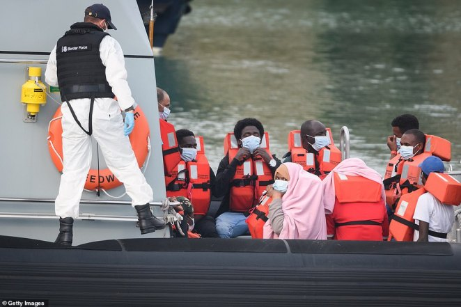 Women were seen among the migrants arriving today, include around 13 who said they had originally fled from Sudan before crossing the Channel