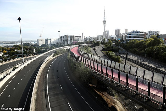 Auckland motorways are seen empty of traffic as the initial COVID-19 lockdown took effect. Auckland will re-enter stage three lockdown