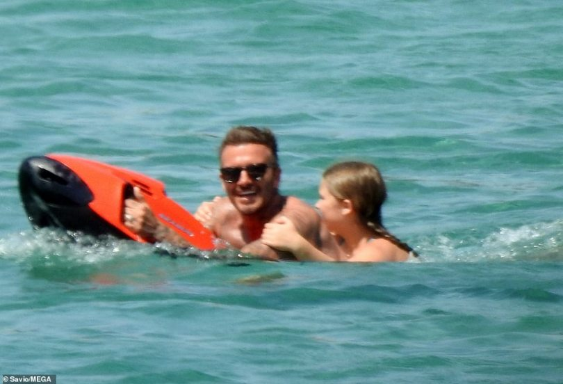 My turn! David made Harper feel super comfortable with the kickboard by having a go himself but soon got the giggles