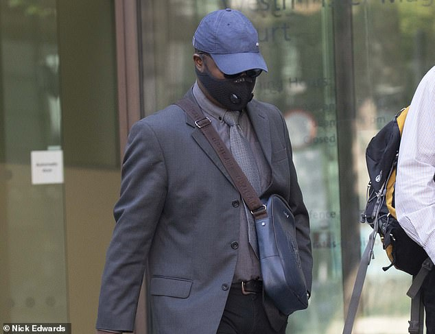 PC Walters, pictured leaving Westminster Magistrates Court today, has been placed on restricted duties