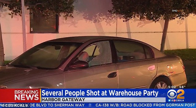 Five people have been injured after gunmen opened fire at a large gathering at a Los Angeles movie studio