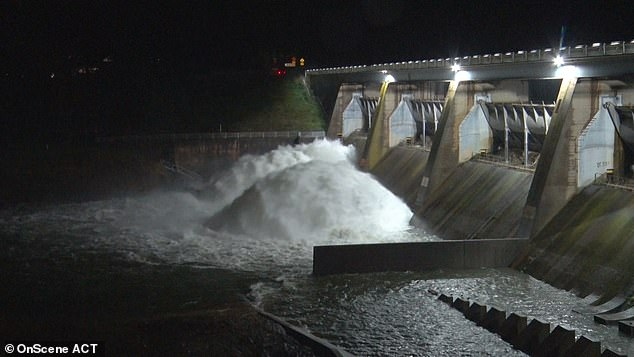 A catchment area in ACT was overflowing at the weekend as torrential rain lashed the territory, causing flash flooding