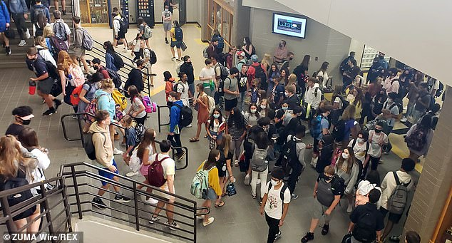 Students at Sequoyah High School change classes on 4th day of first week of face-to-face school in Cherokee County