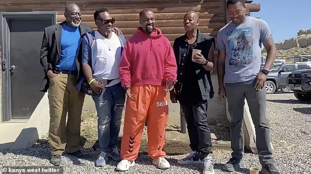 On his own: In July West spent time in Wyoming with his friends, which include stand-up comedian Dave Chappelle