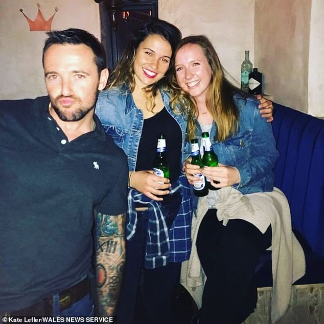 Adam, who was in his 30s and said he was from Wales, had gone out to the Rust and Royal bar in the town while visiting his friend Mac. Pictured: Mac on the night Ms Lefler (right) met Adam