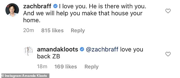 'I love you. He is there with you. And we will help you make that house your home,' wrote Zach Braff, who was close friends with Nick