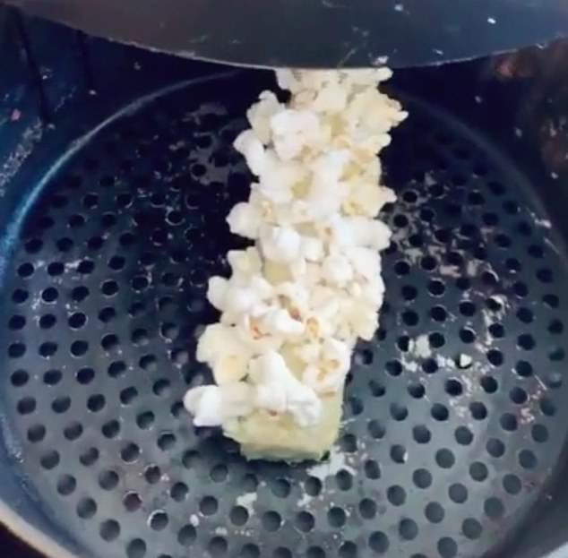Corn on the cob turned into delicious popcorn when it was put into the air fryer (pictured)