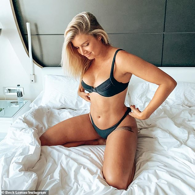 Beck Lomas (pictured), 25, boasted about doing 'a couple of extra laps' around the lake on Saturday while waiting for her boyfriend, Josh Klein, to set up her birthday surprise