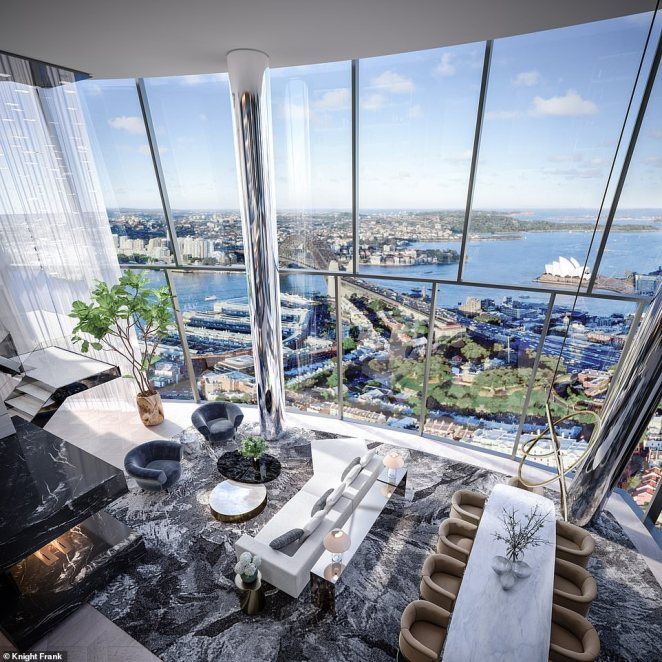 James Packer's $60 million penthouse at levels 48 and 49 of Crown Casino has been revealed. Pictured is an artist's impression of apartments at the skyscraper overlooking Sydney Harbour with a stairs leading up to the second floor