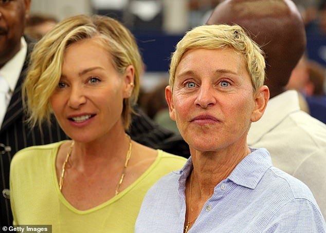 In her corner: It comes after Ellen's wife, Portia de Rossi (pictured), said that Ellen will continue doing her show and is 'doing great' amid a career crisis scandal