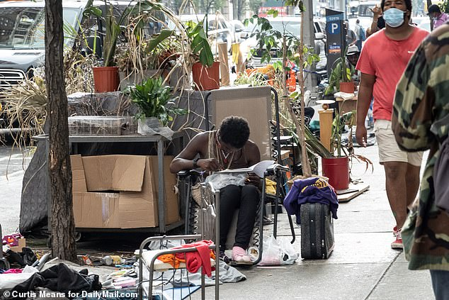 Homeless people have taken to living along a stretch of Chelsea's streets in Manhattan