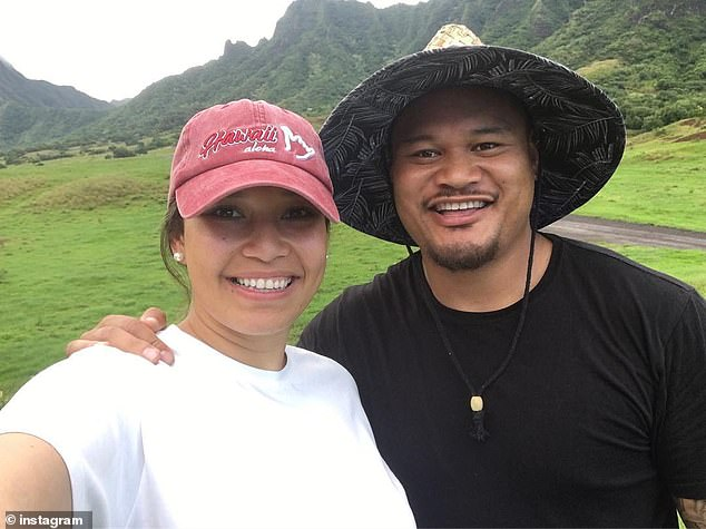 Wests Tigers star Joey Leilua took leave to join his extended family in Canberra, the club confirmed on Thursday. Pictured with his partner Tiana
