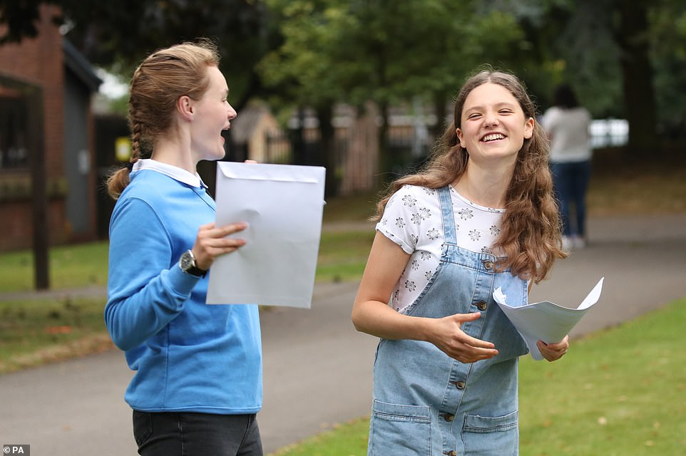 Sophie Lofthouse (left) and Hannah Walton-Hughes react as students at The Mount School in York get their results today