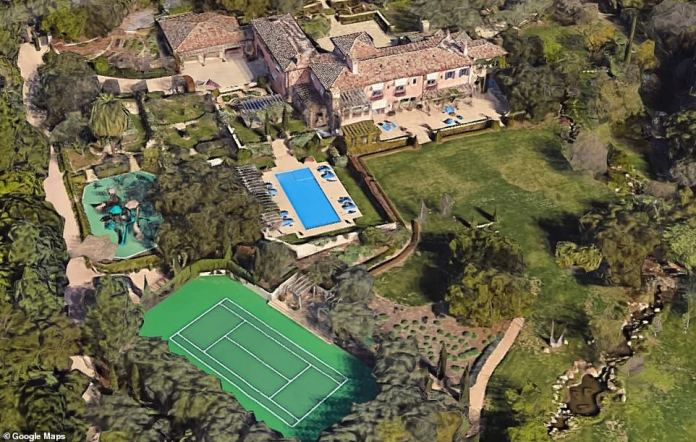 HARRY AND MEGHAN: The home was built in 2003. The estate has sweeping lawns, tiered rose gardens, tall Italian cypress trees, blooming lavender, century old olive trees, a tennis court, tea house, children's cottage and a pool