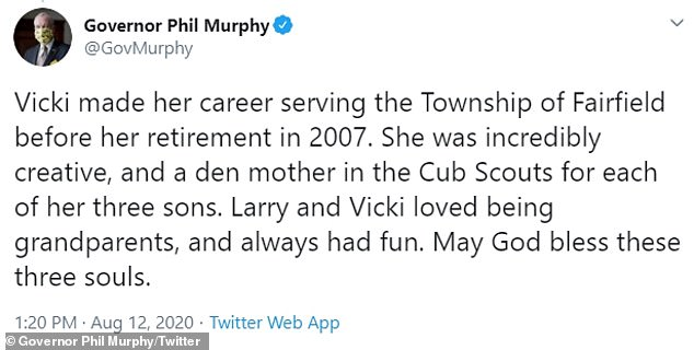Murphy: 'She was incredibly creative, and a den mother in the Cub Scouts for each of her three sons. Larry and Vicki loved being grandparents, and always had fun'