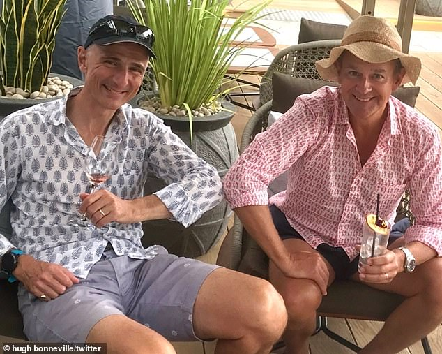 Cheers!  The actor then showed off his epic transformation once again in the blink of an eye shared on Twitter as he met his best friend from college for a drink.