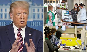 President Trump blocks new covid relief package because he doesn't want to fund Democrats' push for mail-in voting – as IRS warns Americans may not get stimulus check until September if deal can't be reached by tomorrow