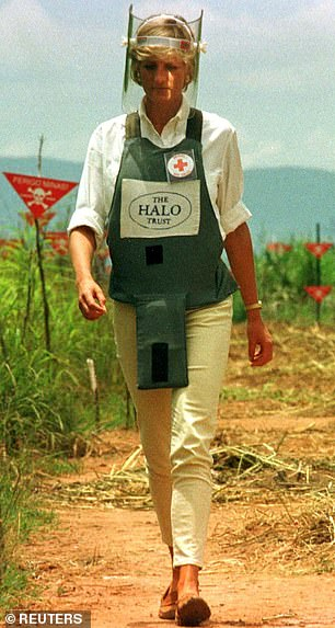 Six months after her divorce from Prince Charles, Diana travelled to Angola with the Red Cross where she famously walked through a field of landmines, pictured left in 1997