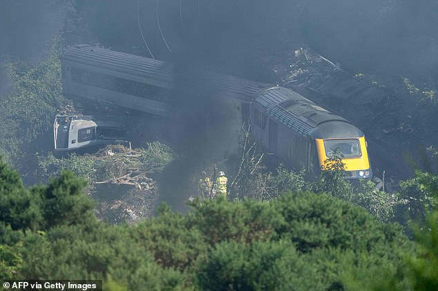 Investigators are today probing a horror derailment which killed three people after a train slipped from a 'flood-hit' line in Scotland - just four weeks after track operators were warned of a spike in dangerous landslips