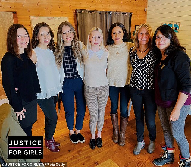 Pictured: The Duchess of Sussex visiting the organisation Justice For Girls in Canada