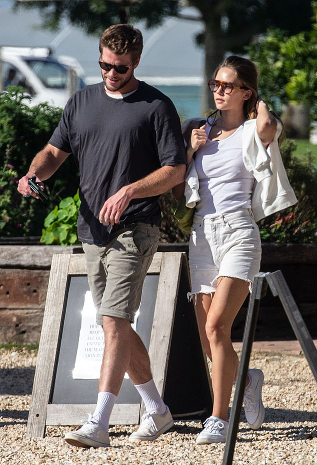 Outside: Liam Hemsworth, 30, and his girlfriend, Gabriella Brooks, 24, went to Byron Bay for lunch on Thursday
