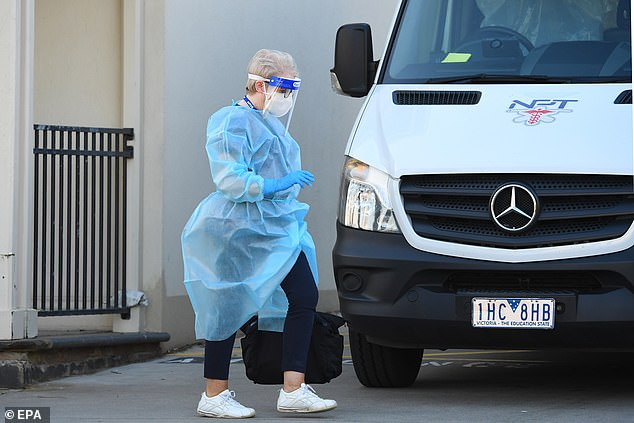 A healthcare worker outside of the Glenlyn Aged Care Facility in Melbourne on August 13