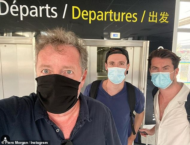 Coming back: It comes after Piers joked he and his family were 'quarantine dodgers' as they cut the trip short to return to the UK on Thursday before France's air bridge was removed