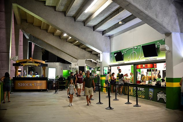 Neja had been eating food and drinking from the concession stands in the stadium