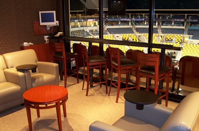 A suite in the stadium is seen above. When Neja was finally found he wasdressed entirely in Rowdies clothing