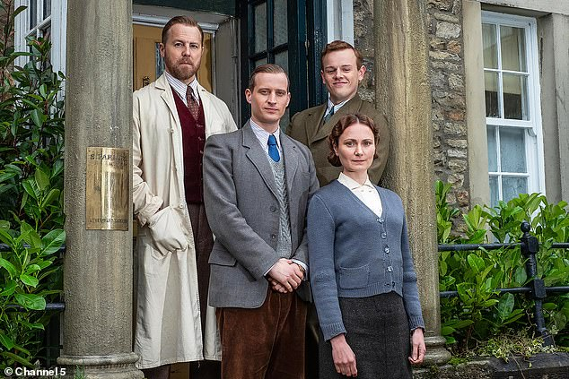 Happy house: Pictured from left to right, Siegfried Farnon (Samuel West), James Herriot (Nicholas Ralph), Tristan Farnon (Callum Woodhouse) and Mrs Hall (Anna Madeley)