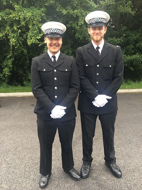 Thames Valley Police officer PC Andrew Harper, 28, (right) with a colleague