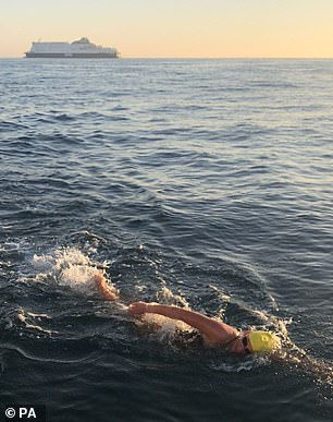 Miss McCardel is due to set off at around 10am and expects to reach France some ten hours later. She is pictured during her last swim