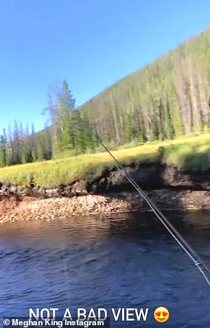 In nature: The reality star also uploaded snippets from her fishing excursion to her IG Stories, with the caption 'Not a bad view'