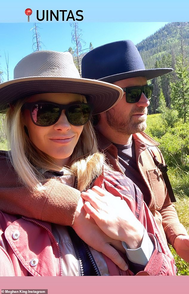 Handsome couple:A cute couples selfie of Meghan and Christian geo-located them in Uintas, seemingly in the Uinta Mountains on the Wyoming-Utah border