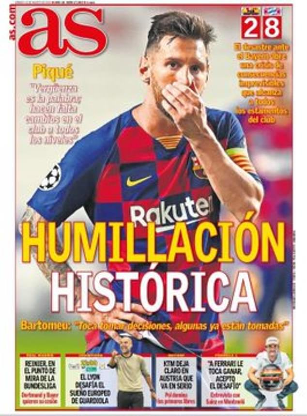 The Spanish press have rounded on Barcelona after their 8-2 thrashing by Bayern Munich
