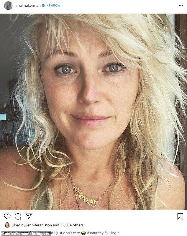 Engaging: Amid the ongoing coronavirus pandemic, she has kept her more than 483,000 Instagram followers entertained with silly selfies, including her 'covid hair' and sultry throwbacks