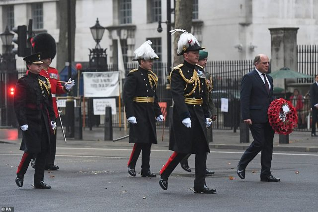Defence Secretary Ben Wallace lays a wreath at the Centotaph, Whitehall, London, to mark VJ Day this morning