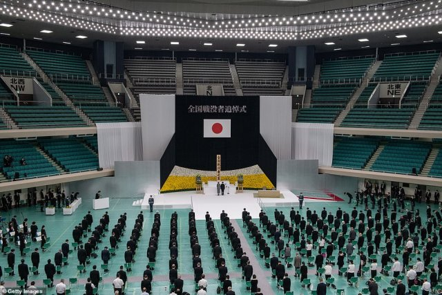 Emperor Naruhito and Empress Masako of Japan attend a memorial service marking the 75th anniversary of Japan's surrender in World War II at the Nippon Budokan hall on August 15, 2020 in Tokyo, Japan.75 years ago today and following the atomic bomb attacks on Hiroshima and Nagasaki, former emperor Hirohito formally announced Japans surrender to allied forces, bringing the hostilities of World War II to an end