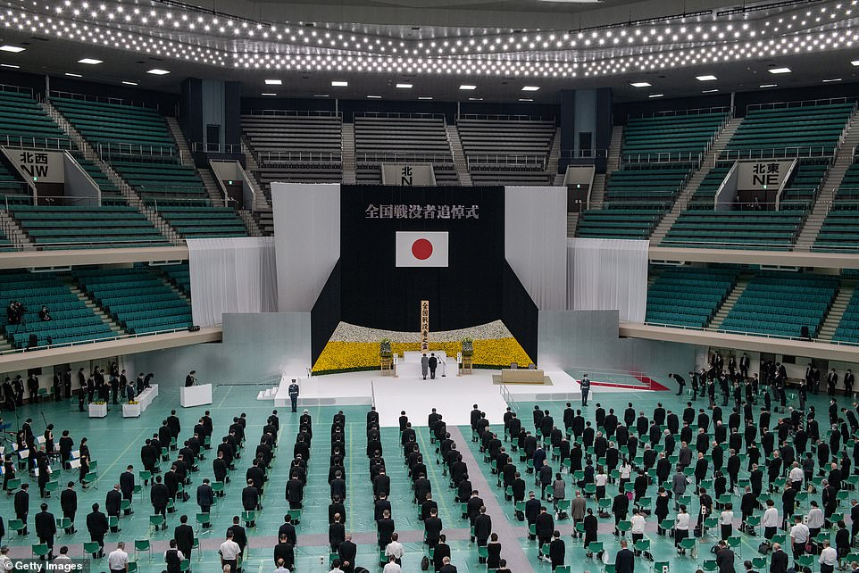 Emperor Naruhito and Empress Masako of Japan attend a memorial service marking the 75th anniversary of Japan's surrender in World War II at the Nippon Budokan hall on August 15, 2020 in Tokyo, Japan. 75 years ago today and following the atomic bomb attacks on Hiroshima and Nagasaki, former emperor Hirohito formally announced Japans surrender to allied forces, bringing the hostilities of World War II to an end