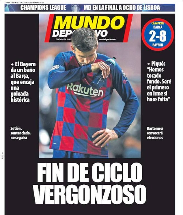 Mundo Deportivo's headline reads: 'Shameful end of cycle', after the brutal defeat