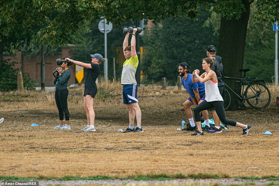 This week brought soaring temperatures (parched grass in Wimbledon Common, pictured) before revellers were forced to pack away their barbecues as storms moved in