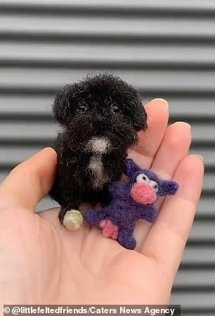The artist said: 'My favourite part of the whole process is receiving pictures of the real pets with their little felted friend.' Pictured, one of her creations