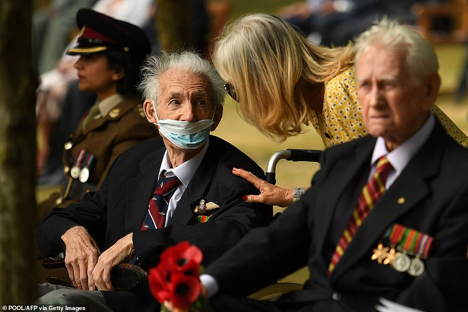 Veterans arrive to attend a national service of remembrance at the National Memorial Arboretum in Alrewas, central England today, to mark the 75th anniversary of VJ (Victory over Japan) Day
