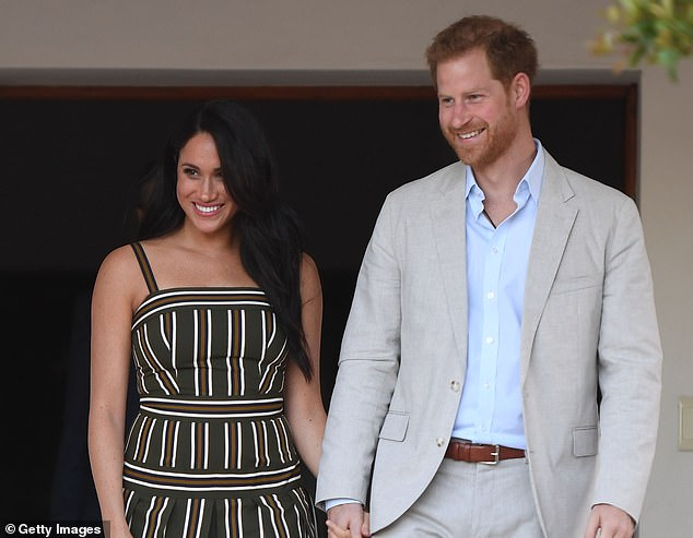 Appearing on The 19th* Represents 2020 Virtual Summit yesterday via video call, Meghan (pictured in September 2019 with Harry) is thought to have showcased one of the rooms in her new abode