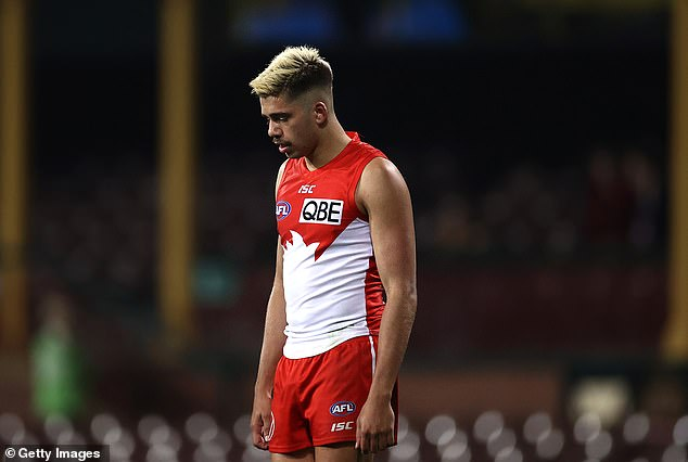 Taylor (pictured at the SCG on July 18) has been suspended from playing for the rest of the season.The AFL has also issued a sanction of $50,000, with $25,000 of that suspended