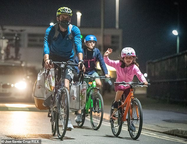One family was seen cycling after getting off the penultimate ferry to Newhaven from Dieppe last night - before the quarantine rules kicked in