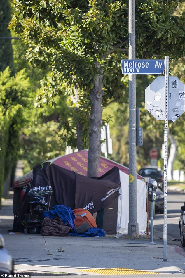 More tents in Melrose Place, one of the trendiest addresses in Los Angeles.Stretches of Hollywood Boulevard ¿ embedded with glittering stars representing those who achieved their dream of fame and fortune ¿ resemble a Third World shanty town rather than the heart of America's second-largest city