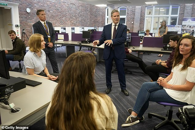 We also need to see an urgent review into the system to stop the same situation being inflicted on thousands more students when they receive their GCSE results in the coming days. Pictured: Sir Keir Starmer talks to Sixth Form students in Darlington after they received their A-Level results