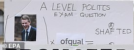 The erroneous banner referred to a 'politcs exam question'